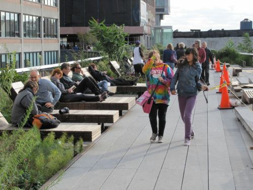 Reclining chairs along the High Line lead to socializing